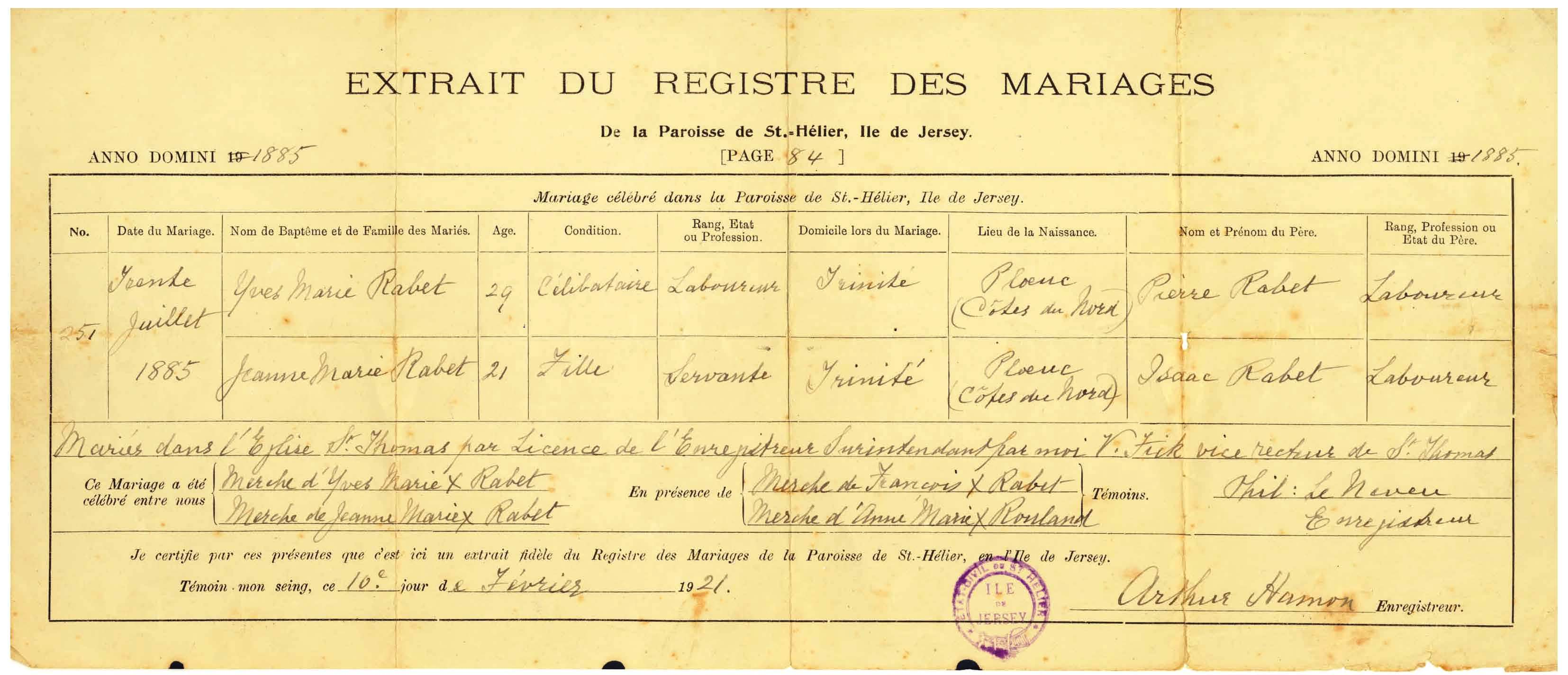 Marriage certificate my channel island ancestry marriage certificate aiddatafo Choice Image