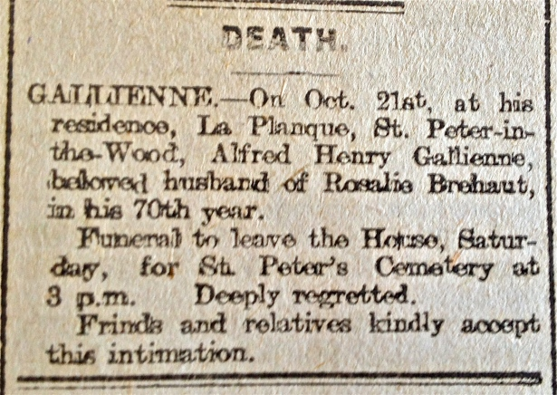 Death notice in newspaper
