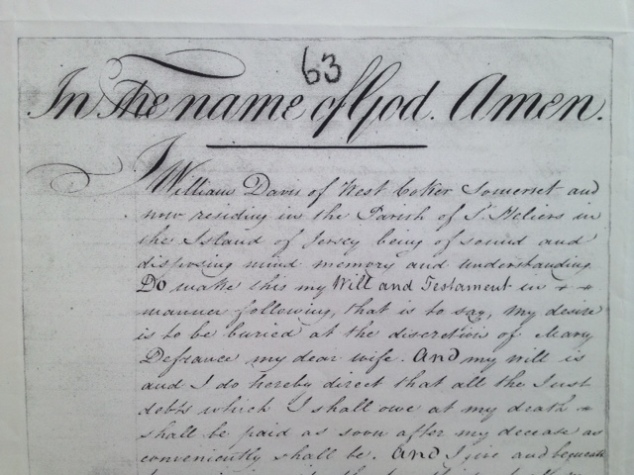 snap shot of William Davey's Will - 1832